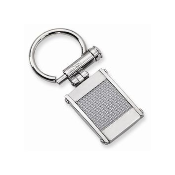 Men's Stainless Steel Brushed and Polished Grey Carbon Fiber Key Ring