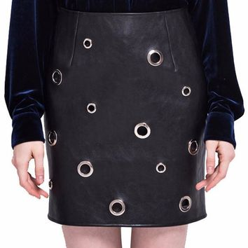 Marina Leather Silver Stud Mini Skirt
