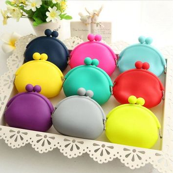 ONETOW New Candy Color Round Coin Purse Women Friendly Silicone Key Bag Cute Rubber Package Wallet Kid Gift