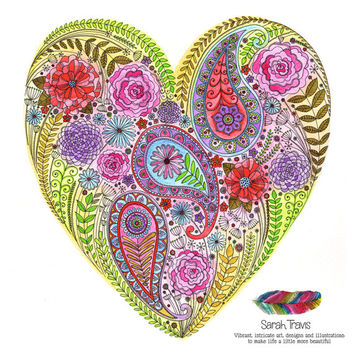Beautiful Heart Filled With Flowers Print
