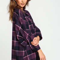 Purple Oversized Flannel Button Down Shirt
