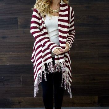 Burgundy-Ivory-Striped-Fringe-Hem-Knit-Cardigan