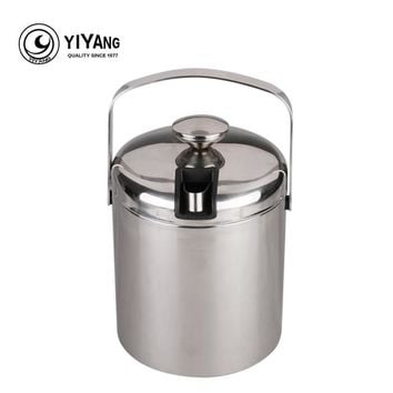 1.3L double wall stainless steel ice bucket with handle +ice clip Practical Bar Container Barrel Beer Wine Cooler Champagne Keg