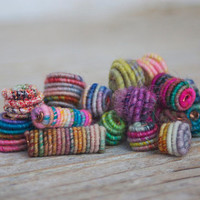 Mixed Set of Handmade Fabric Textile Beads for Artisan Jewelry Designs