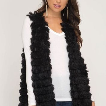 Kixters - Black Faux Fur Layered Long Vest