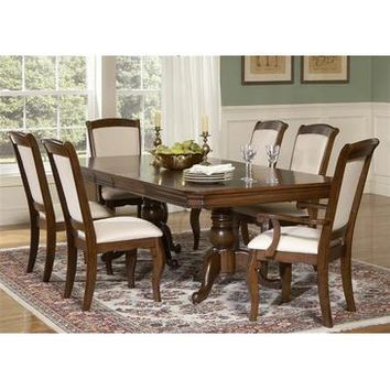 Liberty Furniture Louis Philippe 5 Piece Double Pedestal Table Set in Cherry Finish