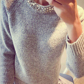 Collar Sequined Knitted Sweater