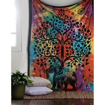 Psychedelic Celestial Elephant Tree Tapestry ,Good Luck Tie Dye Elephant Tapestry , Hippie Gypsy Wall Hanging , Tree of Life Tap