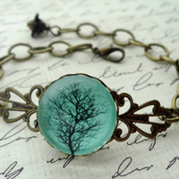 Aqua Winter Tree Bracelet, Black branches, gift for her under 25 usd
