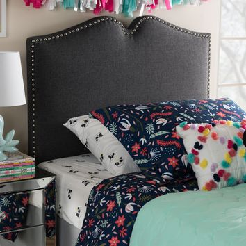 Baxton Studio Gracie Modern and Contemporary Dark Grey Fabric Upholstered Twin Size Headboard with Nail Heads Trim Set of 1