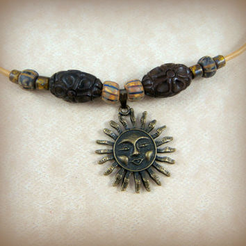 Celestial Pendant Necklace - Golden Sun Necklace - Choker Style Necklace with Sun Pendant with Wooden Beads - Bohemian Style Necklace