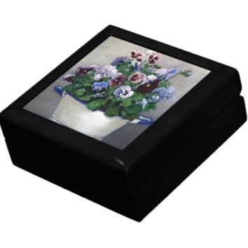 Keepsake/Jewelry Box - Pansies Flowers - Lacquer Box with Ceramic Tile Lid