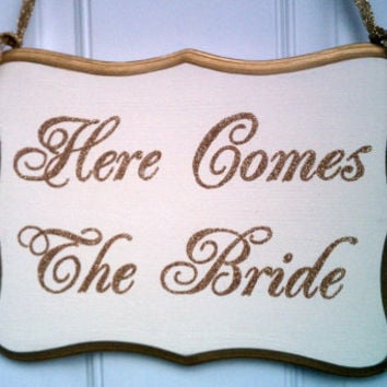 Wedding Sign GLITTER Gold Wedding Decoration Here Comes The Bride Wood Sign Flower Girl Sign Ring Bearer Sign