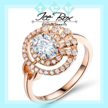 Oval Moissanite Engagement Ring - 7x5mm, 1ct Oval Moissanite Set in a 14K Rose Gold Asymmetrical Diamond Halo Setting