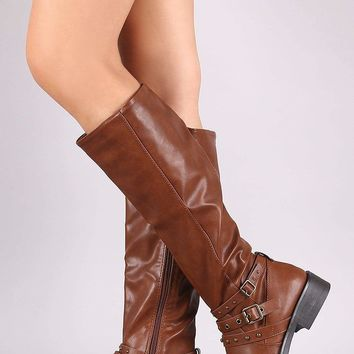 Bamboo Studded Buckle Strap Riding Knee High Boots