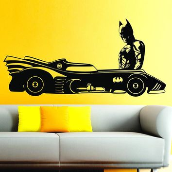 Batman Dark Knight gift Christmas Batmobile & Batman Superhero Car DC Comic Vinyl Wall Decal For Kids Rooms Decor Art Mural Removable Wall Stickers AT_71_6