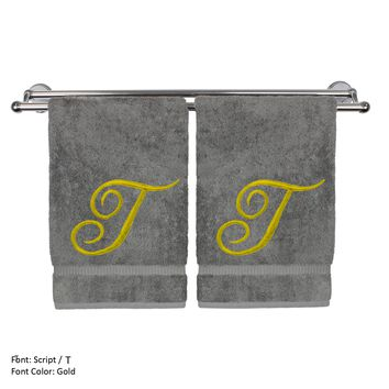 Monogrammed Hand Towel, Personalized Gift, 16 x 30 Inches - Set of 2 - Gold Embroidered Towel - Extra Absorbent 100% Turkish Cotton - Soft Terry Finish - For Bathroom, Kitchen and Spa - Script T Gray