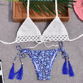 Sexy women new arrival upper white knit hollow bottom blue print tassel four knot two piece bikini