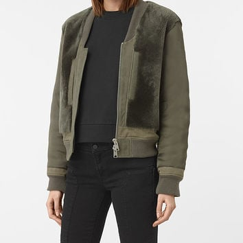 ALLSAINTS UK: Womens Finch Shearling Puffa Bomber Jacket (Khaki Green)