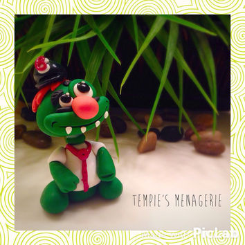 Boston Red Sox Wally the Green Monster figurine! Handmade polymer clay custom fan art MADE TO ORDER