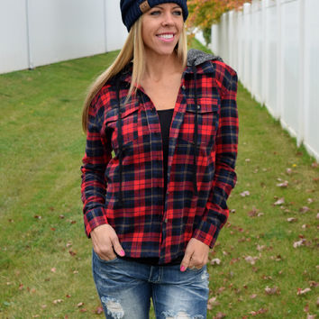 Bree Plaid Shirt with Detachable Hood - Red/Black
