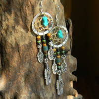 Dream Catcher Earrings in The Native inspired Tribal Boho Hippi Hipster Style