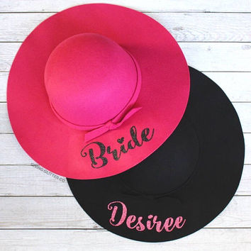 Bride - Personalized - Bachelorette Party // Floppy Hat - Custom Hat - Bride to Be - Bridal Party - Wine Tasting Bachelorette Party