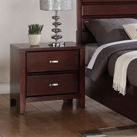 Two-Drawer Nightstand Contemporary Bedroom Furniture Burnished Merlot Finish New