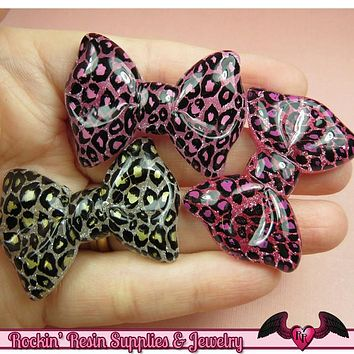 4 pcs LEOPARD ANIMAL PRINT Bows Decoden Resin Kawaii Cabochons 43x31mm