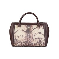 Cavalli Class Brown Leather Handbag