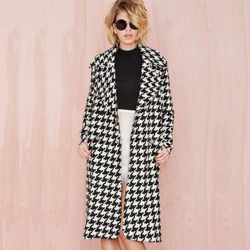 Europea Winter Women Wool Blends Plaid Coat Femal Thick Turn-Down Striped
