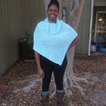 PONCHO, CROCHET PONCHO, womens poncho, Bright aqua cotton, cowl neck