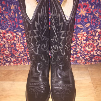 Vintage 80s Black Leather Dan Post Unisex Cowboy Western Boots Men's Size 7.5D Women's Size 8.5D