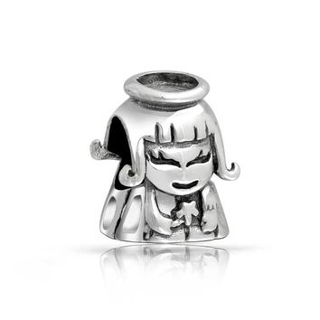 Guardian Fairy Angel Halo Star Charm Bead 925 Sterling Silver