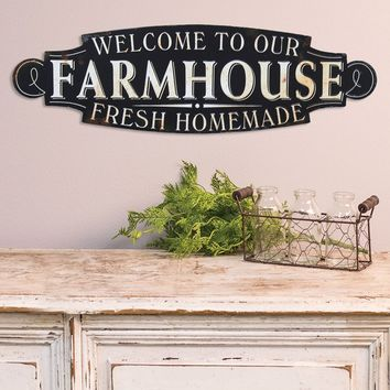 Welcome To Our Farmhouse Metal Plaque