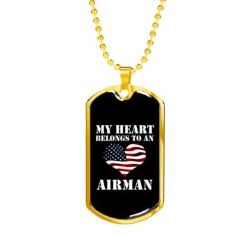 My Heart Belongs To An Airman - 18k Gold Finished Luxury Dog Tag Necklace