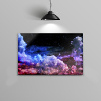 The Purple Blue and Pink Cloud Galaxy Home Decor Stretched Wall Canvas