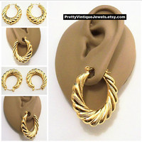 Monet Swirl Line Dot Graduated Hoops Pierced Stud Earrings Gold Tone Vintage Big Ribbed Puffed Long Oval Ring Dangles Surgical Steel Posts