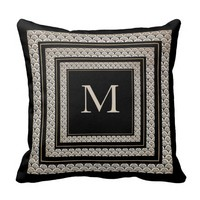 Elegant Floral Art Deco Pattern|Black And Beige Throw Pillows