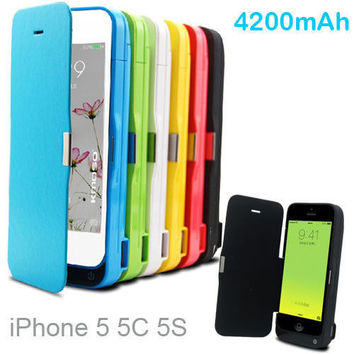 4200mAh External power bank pack Portable Mobile back Charger Backup Battery Case For iphone 5 5C 5s se with USB cable