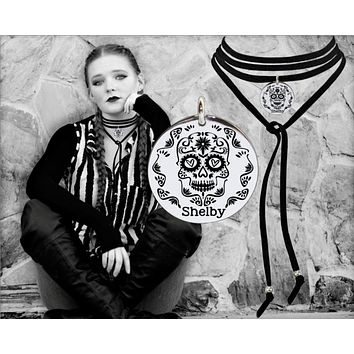 Sugar Skull Personalized Leather Choker