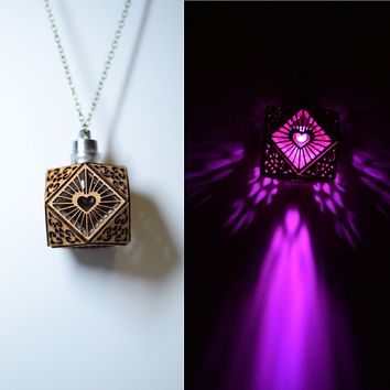 Cubo Love Pendant Necklace in Cherry Veneer