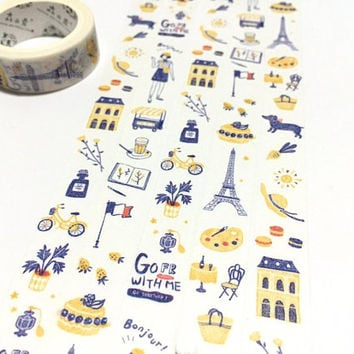 Enjoy France travelling washi tape 10M Travel planner tape Tour Eiffel Musée Rodin building coffee traveller planner masking decor tape gift