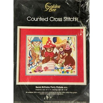 Bears Birthday Party Baby - Counted Cross Stitch Kit