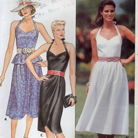 Butterick 6597 Sewing Pattern Retro Rockabilly Style Dress Sweetheart Neck Peplum Waist Halter Top Uncut FF Bust 34 to 38