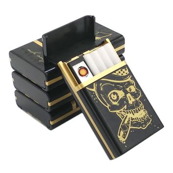 Skull Style USB Cigarette Lighter With Case,Flameless Windproof USB Rechargeable Lighter