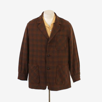 Vintage 50s 49er JACKET / 1950s Men's Brown SHADOW PLAID Pendleton Wool Blazer Jacket M