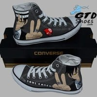 Hand Painted Converse Hi Sneakers. Soul Eater, Death the kid. Anime. Cartoon. Handpai