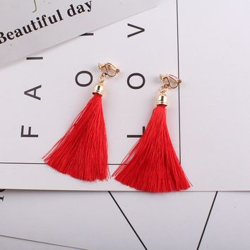 Fiber Tassel Clip on Earrings for Women 17 color Bridal Bohemia Bridal No Pierced Fashion Wedding Jewelry Party Ear Clip