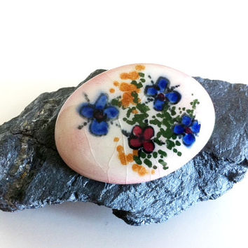 Unique Floral Handpainted Oval Ceramic Brooch